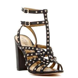 Sam Edelman Studded Yadira Black Leather Strappy